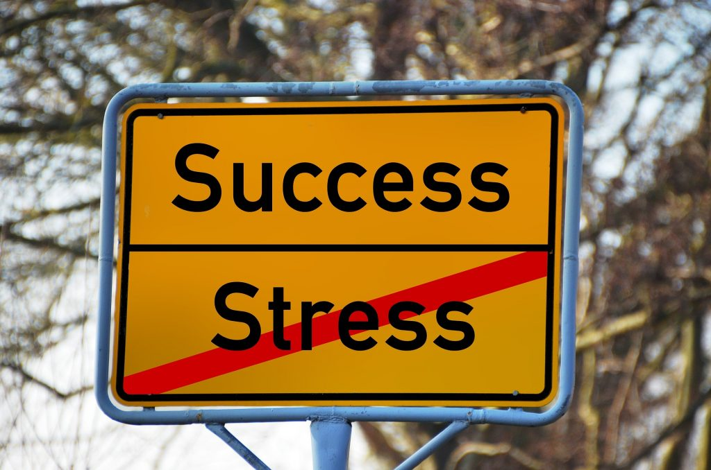 range street sign with words success and strikethrough over word stress